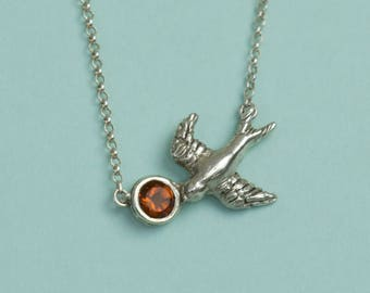 Silver Swallow Necklace - Swallow Pendant - Citrine Stone Pendant - Orange Stone Pendant - Solid Silver