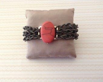 Bracelet 3 rows elastic in-between stone