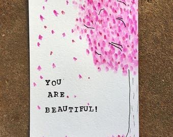"""Watercolor Card """"You are beautiful!"""""""