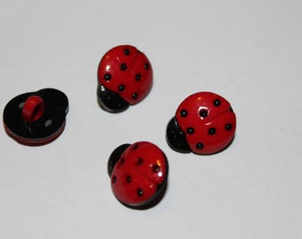 Fancy children Ladybug patterned black and red button