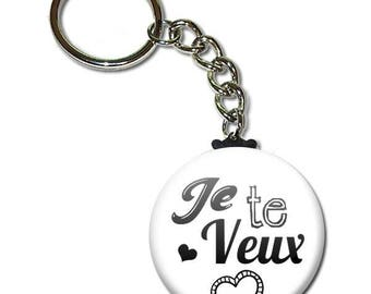 I want you key chain 38mm (man husband birthday sweetie Valentine's day gift idea)