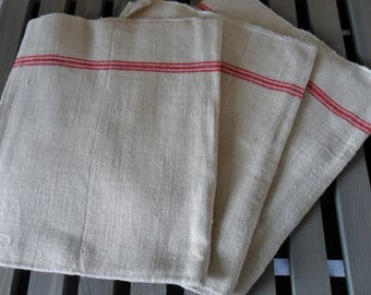 Old towel in hemp, red strips, our grandmothers towel, or even arriere-grand-meres...