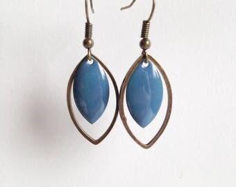 Earrings - shuttle - blue-grey