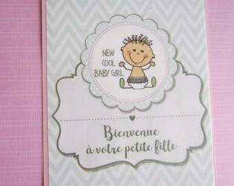 Baby girl card or baby shower