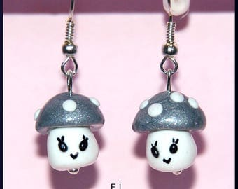 Earrings: mushroom grey silver polka dots fall