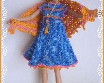 Barbie: dress ruffle, crocheted blue heathered, booties, jewelry and orange shawl