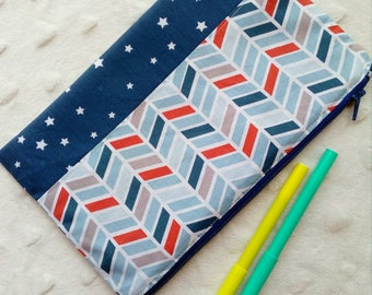 Kit flat school kids crayons, fabrics, colors Navy Blue and Red chevrons and stars, boy patterns
