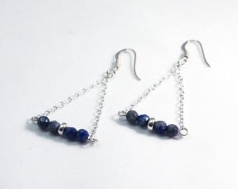 Triangle chain earrings and facet lapis Lazuli, 925 Silver hook