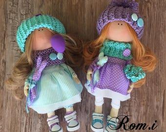 Textile doll.  Fabric doll. Fashion doll. Soft doll. Tilda doll. Interior doll.