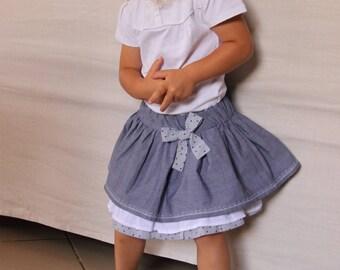 Skirt ruffle cotton white/blue/stars 3/4 years
