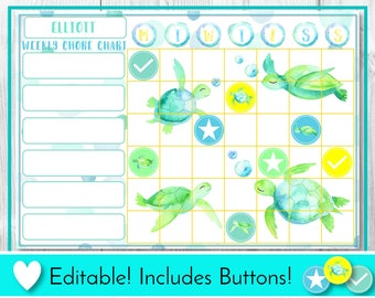 Editable Sea Turtle Chore Chart, Reward Chart, Behaviour and Responsibility Chart, Watercolor Printable Chart, Task Chart, Routine Chart