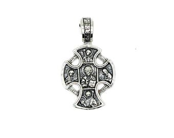 Men's Slavic Ancient style Pendant Cross Sterling Silver 925