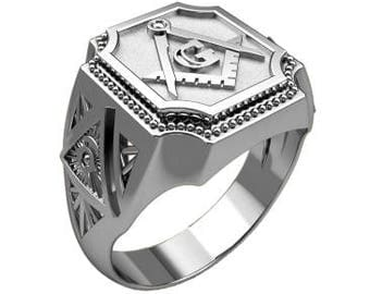 Masonic Freemasonry Сompass Symbol Men's Ring Sterling Solid Silver 925 SKU30312