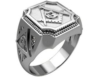 Masonic Freemasonry Сompass Symbol Men's Ring Sterling Solid Silver 925 SKU30312