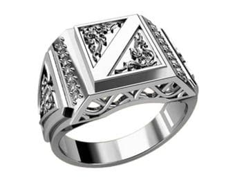 Men Ring Signet Sterling Silver 925 with Zircons  SKU30090