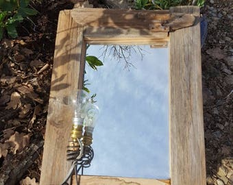 Upcycled with its bulb wood mirror