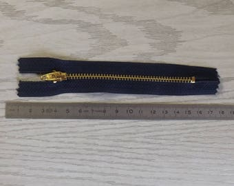 Navy and gold 12 cm zipper