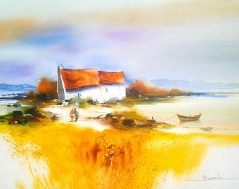 "Landscape watercolor ""The Ballad of love"""