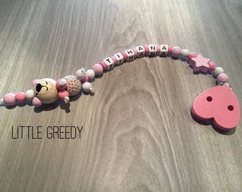 Personalized pink and white Teddy bear pacifier clip