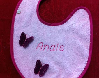 Baby bib in pink sponge customizable to suit your tastes