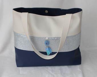 Navy Blue handbag / silver