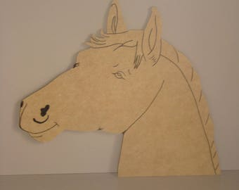MDF wooden horse head to customize, paint H 19 cm x 20.5 cm