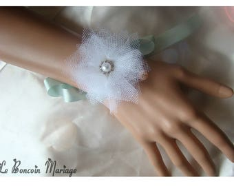 Flower white tulle, and Mint Green Ribbon Bracelet
