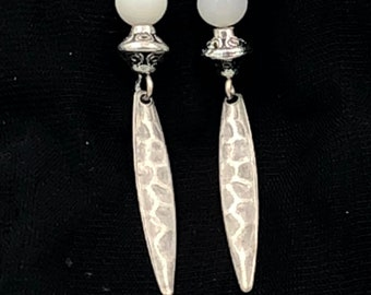 Silver Drop Earrings with white stone