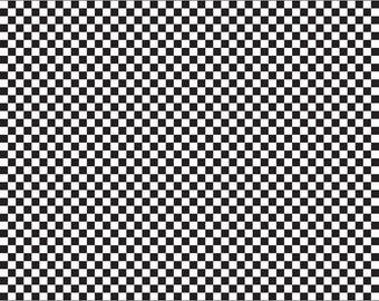 Black Racing Checkered Fabric - Riley Blake Cotton Fabric. Quarter Yard, Half Yard, By the Yard