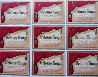 set of 9 french wine labels - Red Velvet