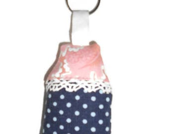Navy and pink fabric House key chain