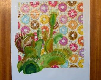Venus flytrap contemporary abstract painting