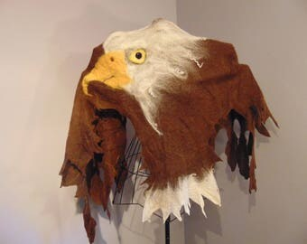 Hand Felted Bald Eagle Shawl / Wall Hanginig