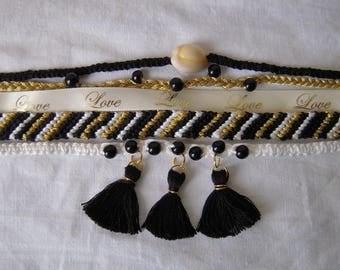 Cuff, friendship bracelet, macrame and beads