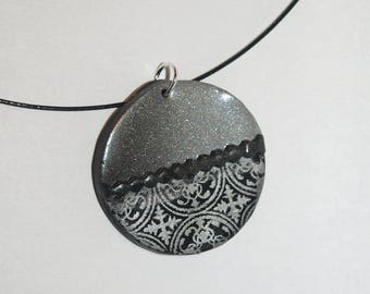 Round black and silver necklace with silver lace effect Christmas inspired