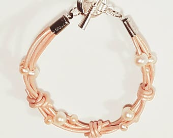 Rose Gold leather bracelet with peach and white freshwater pearls