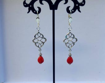 Red Celtic knot and howlite drop earrings