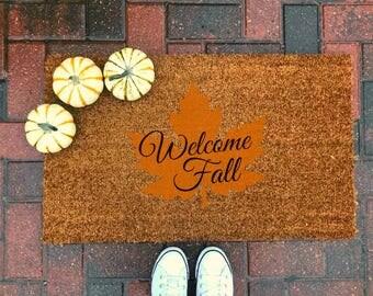Welcome Fall Doormat / Fall Decor / Coir / Thanksgiving / Front Porch / Personalized / Housewarming / Home Decor / Farmhouse Decor