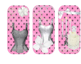 3 digital bookmarks corset scented rose(envoi mail)