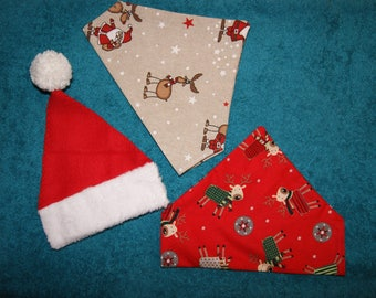 Set of 3 Christmas adaptable on dog collar bandanas