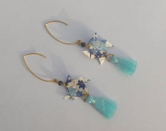 Pearl Earrings dangling gold tone metal hooks magical black origami Japanese paper blue flowers and PomPoms blue windmill