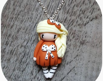 """Necklace little girl """"blonde hair, orange dress"""" (bow collection)"""