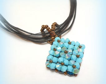 """Woven graphic """"Harmony of Turquoise"""" Crystal Necklace"""