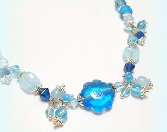 "Necklace silver beads ""A bright summer"""
