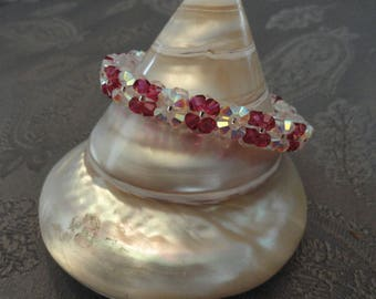 Bracelet white and Fuchsia Swarovski Crystal beads