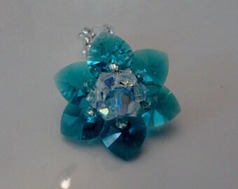 Water lily blue Zircon Swarovski Crystal beads ring