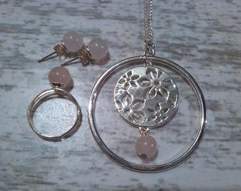 ... Pale pink quartz set in delicate, silver