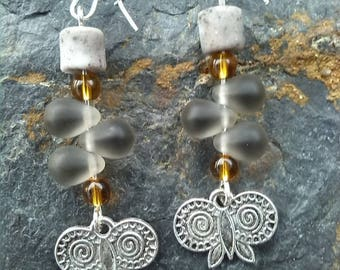 Earrings glass beads and Butterfly