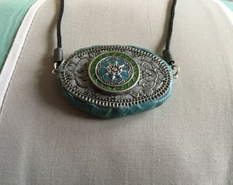 50mm Turquoise Polymer/Filigree Cord Necklace