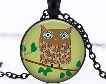 OWL cabochon dome glass pendant necklace